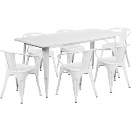 63Inch Rectangular White Indoor-Outdoor Table Set with 6 Arm Chairs