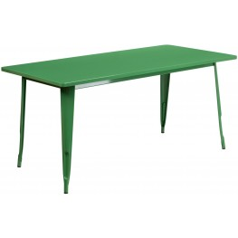 63Inch Rectangular Green Indoor-Outdoor Table (Min Order Qty Required)
