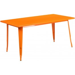 63Inch Rectangular Orange Indoor-Outdoor Table