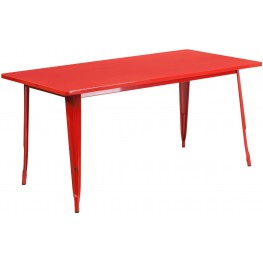 63Inch Rectangular Red Indoor-Outdoor Table