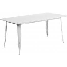 63Inch Rectangular White Indoor-Outdoor Table