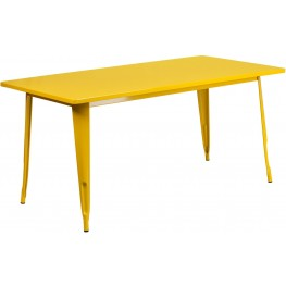 63Inch Rectangular Yellow Indoor-Outdoor Table (Min Order Qty Required)