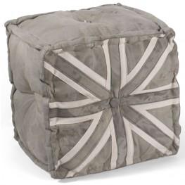Grey Brittania Pouf