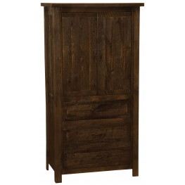 Frontier Barn Brown Value Three Drawer Armoire with Adjustable Shelving