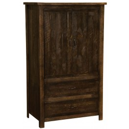 Frontier Barn Brown Premium Two Drawer Wardrobe with Hanging Rod