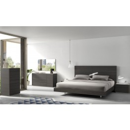 Faro Natural Grey Lacquer Platform Bedroom Set