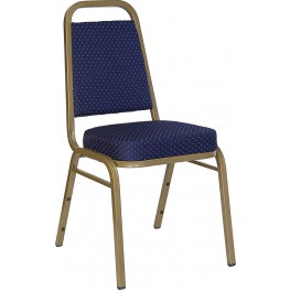 Hercules Trapezoidal Back Stacking Banquet Chair with Navy Patterned Fabric and Gold Frame Finish