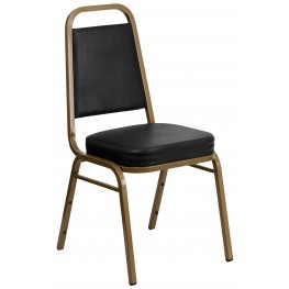 Hercules Series Trapezoidal Back Stacking Black Vinyl Banquet Chair