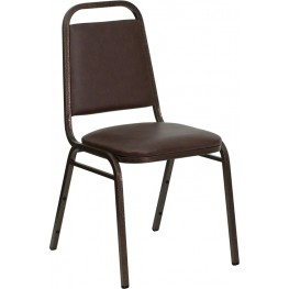 Hercules Trapezoidal Back Stacking Banquet Chair with Brown Vinyl and Copper Vein Frame Finish