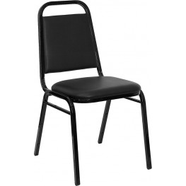 5982 Hercules Trapezoidal Back Stacking Banquet Chair with Black Vinyl and Black Frame Finish