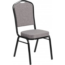 HERCULES Series Crown Back Gray Fabric Stacking Banquet Chair