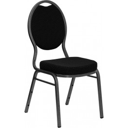 Hercules Teardrop Back Stacking Banquet Chair with Black Patterned Fabric and Silver Vein Frame Finish