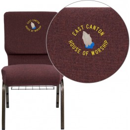 Embroidered HERCULES Series Plum Fabric Church Chair with Gold Vein Frame