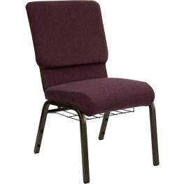 18.5''W Plum Fabric Hercules Church Chair with Book Rack