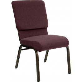 18.5''W Plum Fabric Stacking Hercules Church Chair - Gold Vein Frame