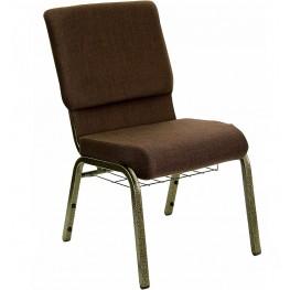18.5''W Brown Fabric Hercules Church Chair with Book Rack