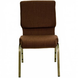 18.5''W Brown Fabric Stacking Hercules Church Chair - Gold Vein Frame