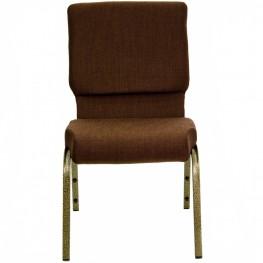 18.5''W Brown Fabric Stacking Hercules Church Chair - Gold Vein Frame