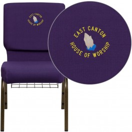 Embroidered HERCULES Series Royal Purple Fabric Church Chair with Gold Vein Frame