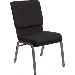 18.5''W Black Fabric Stacking Hercules Church Chair Silver Vein Frame