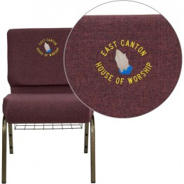 Embroidered HERCULES Series Extra Wide Plum Fabric Church Chair