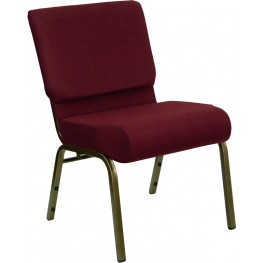 21'' Extra Wide Burgundy Hercules Church Chair with 4'' Thick Seat - Gold Vein Frame