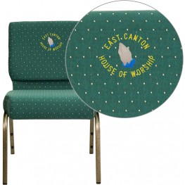 Embroidered HERCULES Series Extra Wide Hunter Green Dot Patterned Fabric Stacking Church Chair