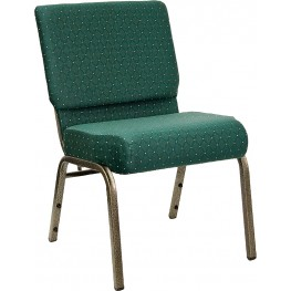 21'' Extra Wide Green Dot Hercules Church Chair with 4'' Thick Seat - Gold Vein Frame