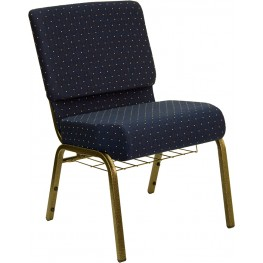 21'' Extra Wide Navy Blue Dot Hercules Church Chair with 4'' Thick Seat, Book Rack - Gold Vein Frame