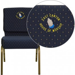 Embroidered HERCULES Series Extra Wide Navy Blue Dot Patterned Fabric Stacking Church Chair