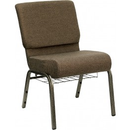 21'' Extra Wide Brown Hercules Church Chair with 4'' Thick Seat, Book Rack - Gold Vein Frame