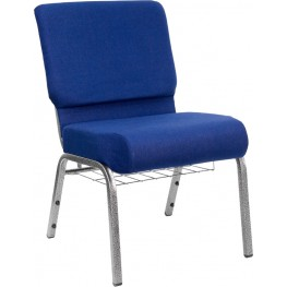 21'' Extra Wide Navy Blue Hercules Church Chair with 4'' Thick Seat, Book Rack - Silver Vein Frame
