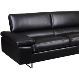 Fiona Black Leather Loveseat