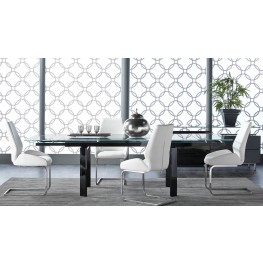 Ritz Flex Black Clear Glass Rectangular Extendable Dining Room Set with Regis Caro Dining Chairs