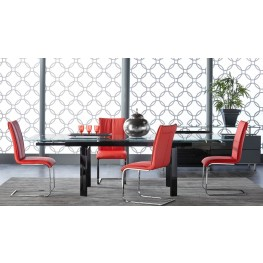 Ritz Flex Black Clear Glass Rectangular Extendable Dining Room Set with Regis Vita Dining Chairs