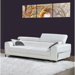 Flynt White Leather Sofa
