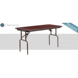 "48"" Rectangular Walnut Melamine Laminate Folding Banquet Table"