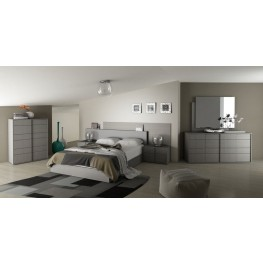 Vivente Forte Matte Grey Platform Bedroom Set