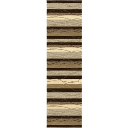 "Four Seasons Tonal Stripe Mink Runner 96"" Rug"