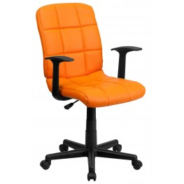 Orange Quilted Nylon Arm Task Chair (Min Order Qty Required)