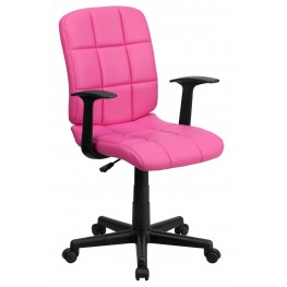 Pink Quilted Nylon Arm Task Chair (Min Order Qty Required)