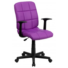 Purple Quilted Nylon Arm Task Chair (Min Order Qty Required)