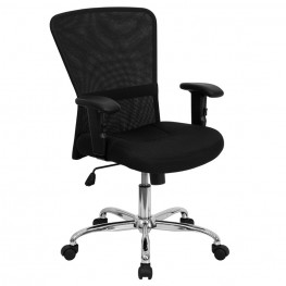 Mid-Back Black Contemporary Computer Chair with Adjustable Arms and Chrome Base