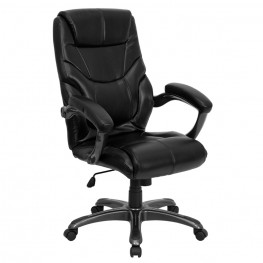 Tall Black Overstuffed Executive Office Chair