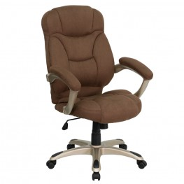 High Back Brown Upholstered Contemporary Office Chair