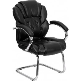 Black Transitional Padded Arms Sled Base Side Chair