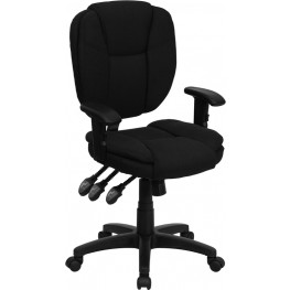 1000965 Black Multi Functional Ergonomic Task Chair with Arms