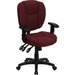 Burgundy Multi Functional Ergonomic Task Chair W/ Arms