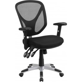 Mid-Back Black Adjustable Arms Swivel Task Chair (Min Order Qty Required)