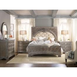 True Vintage Beige Leather Upholstered Canopy Bedroom Set